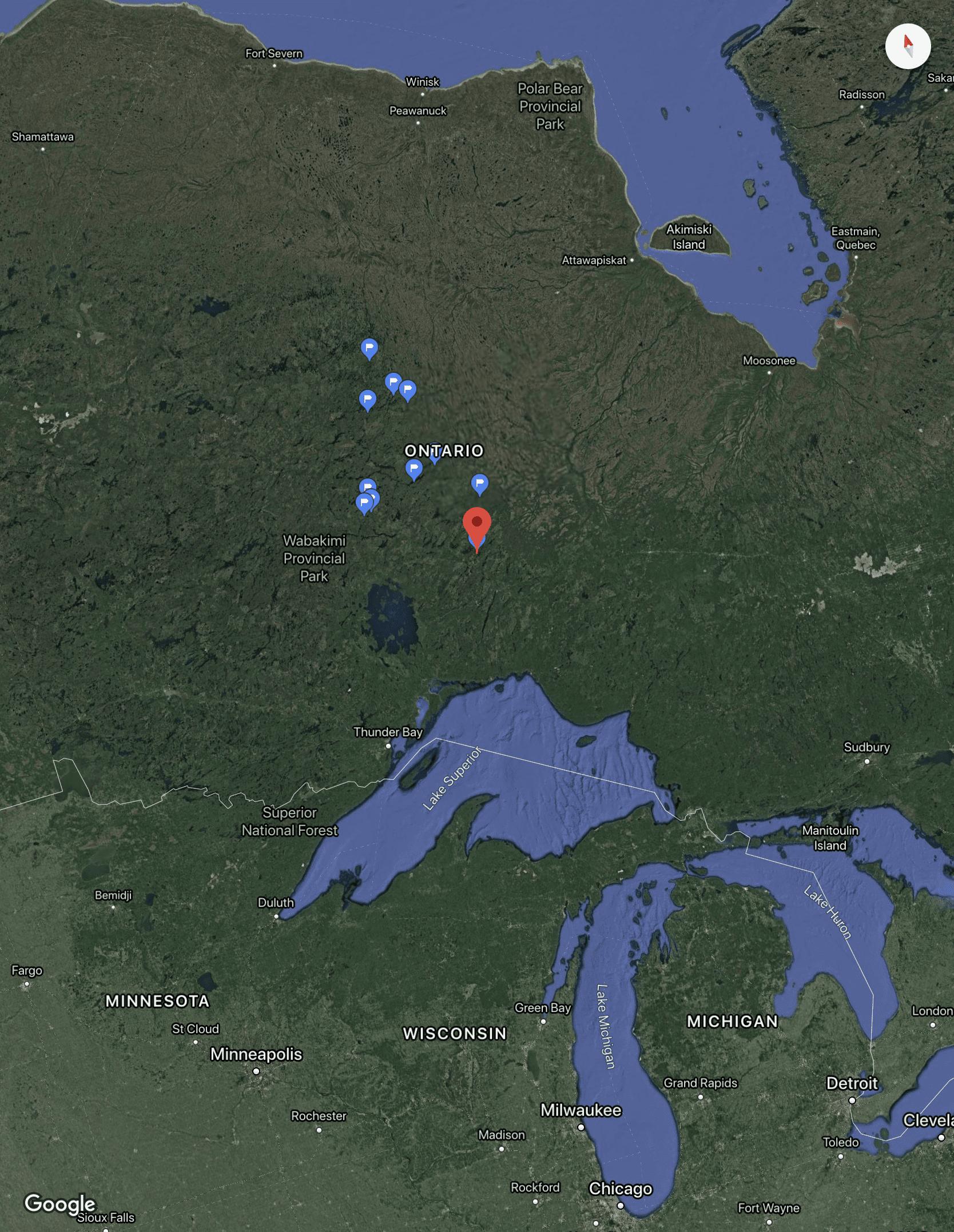 Nakina, Ontario map