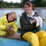 2 kids posing with walleye fish